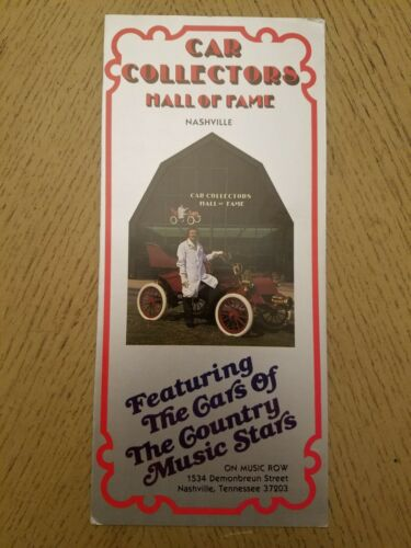 1986 Car Collectors Hall Of Fame Music Row Tourist Brochure Nashville Tennessee