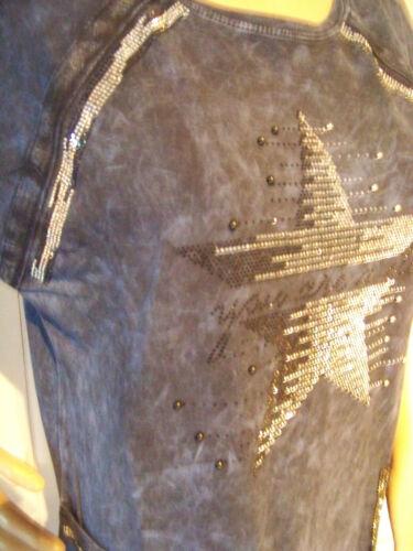 Long Tunica Kleid Sweat Jeans Optik Pailletten Strass Perlen Gr. M L