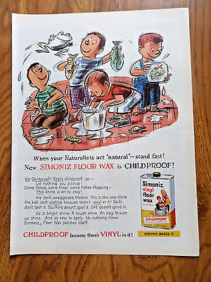 - 1959 Simoniz Vinyl Floor Wax Ad  Childproof When Your Naturalist Act