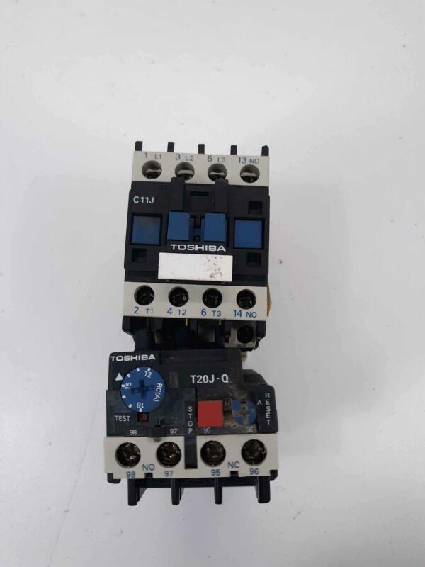 Toshiba C11J Contactor 110v Coil w/ T20 J-Q Overload Relay 12-18A w/LA4 DA 1U