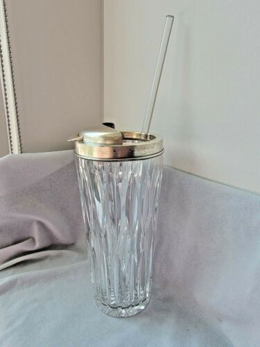 Hawkes Sterling Silver Crystal Cocktail Shaker Vintage w/ Modern Crystal Stirer