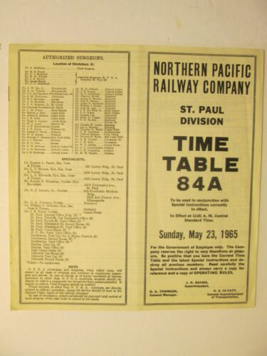 Northern Pacific Time Table No. 84A May 23, 1965 St. Paul Division