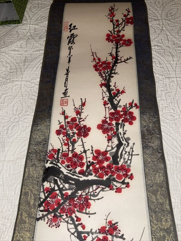 """Chinese Silk Painted Scroll with signature and box 9"""" Wide, 40"""" Long"""