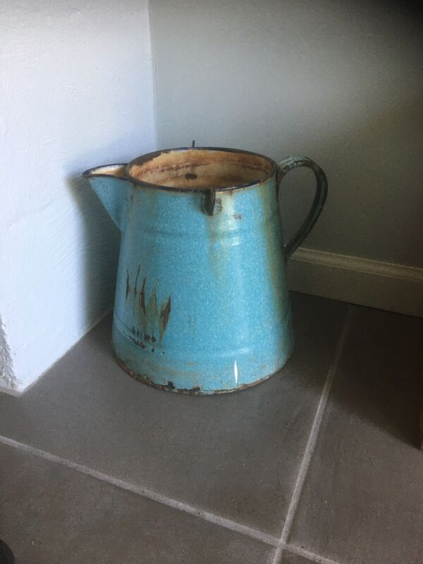 VINTAGE Antique Metal PRIMITIVE DECORATIVE CANISTER PITCHER