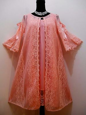 VTG 60s Movie Star CORAL PEIGNOIR LACY BOWS Nighty Robe SET Size M