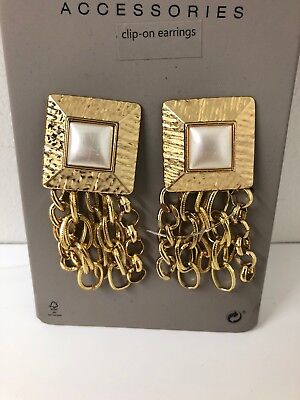 New ZARA Gold Pendants Dangle Chains Statement Pearl Clip On Earrings 1092 ***