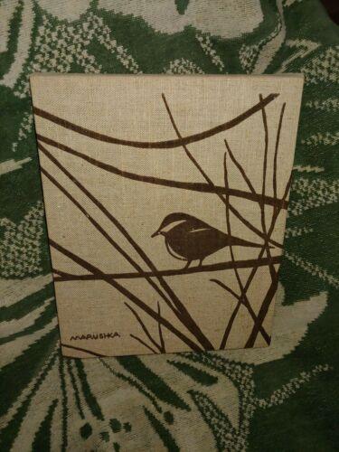 "Vintage MARUSHKA Textile Framed Over Wood Chickadee Bird Print 8"" x 10"""