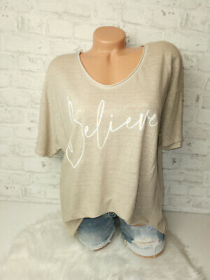 Italy New Collection T-Shirt Believe beige Gr. 36 38 40 42 blogger Oversized