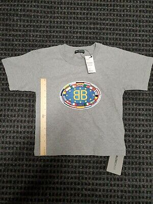 New BALENCIAGA Gray Short Sleeve Kids T-shirt Size 6