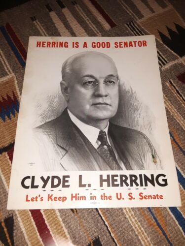 "Clyde L Herring Senator Iowa Original 1936 Poster 14"" x 11"""