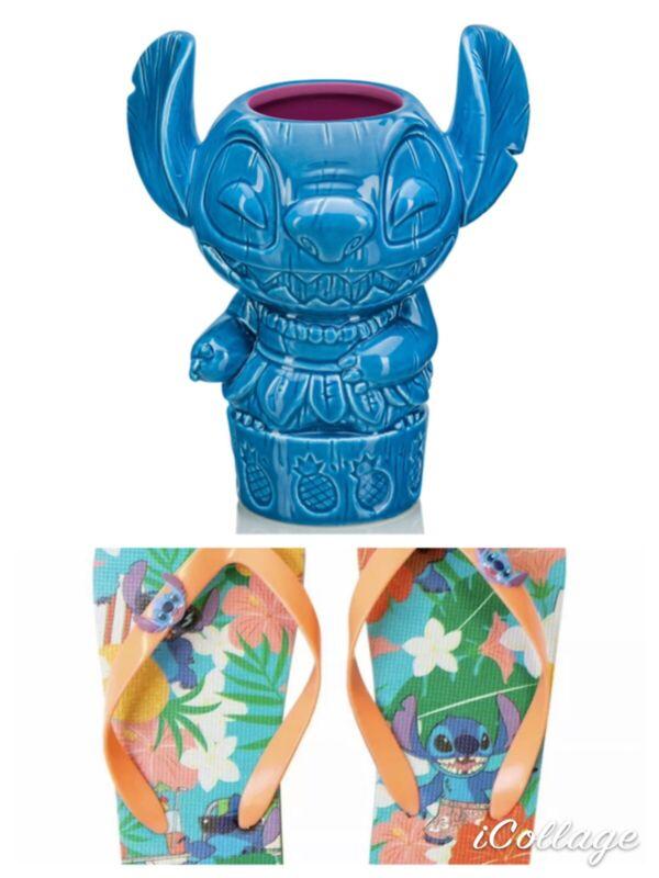 Stitch Geeki Tiki. NIB ( Extremely Rare) + Bonus Stitch Flip Flops.