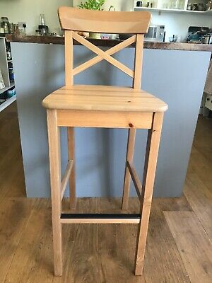 1 x Ingolf IKEA bar stool - antique pine (tall version) 3 available