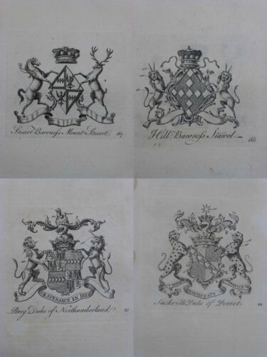 1768 Coat of Arms Peerage of England Collins Dukes Lords 1 of 5 Family Crests