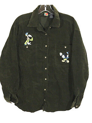 Goofy Mickey Unlimited Bird Watching Sewn Corduroy Brown Button Shirt Womens S