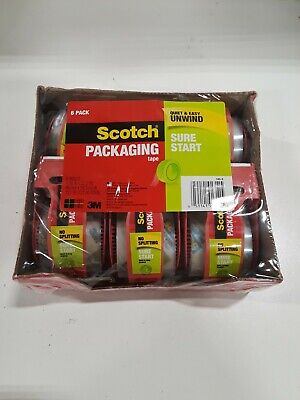 Scotch Sure Start Shipping Packaging Tape 1.88x 22.2 Yd 1.5 Core- Pack Of 6
