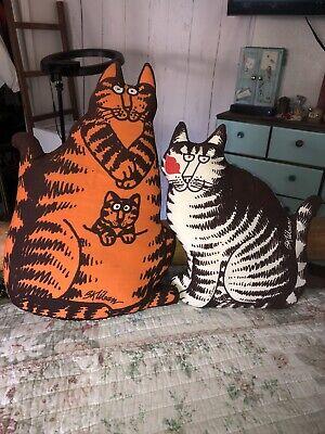 "Vintage B. Kliban Cat Pillow Orange Tabby ""Momcat"" w/Kitten 70s & Striped Cat"