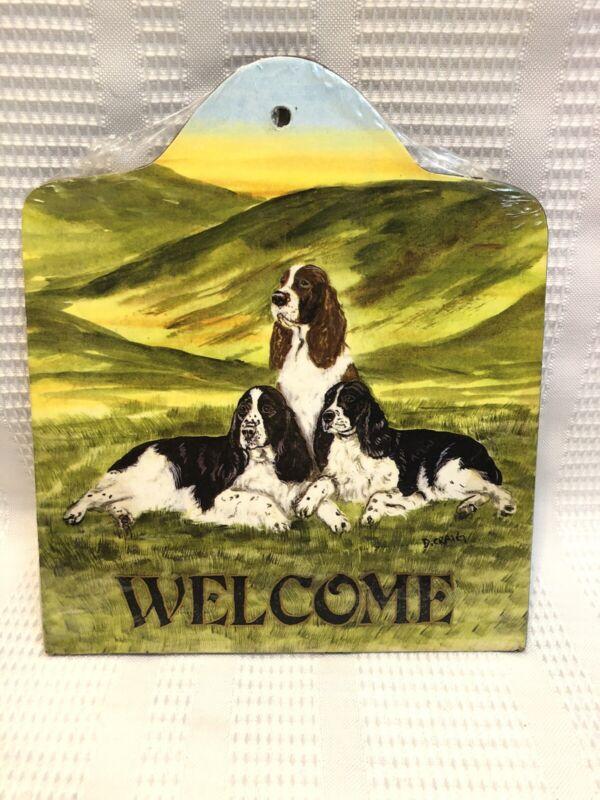 "Animal Artworks-Dee Craig-English Springer Spaniel-""Welcome"" Hanging Sign"