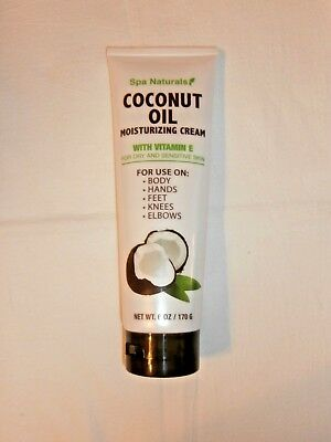 Spa Naturals Coconut Oil 6oz Tube Moisturizing Cream w/Vitamin E  NEW
