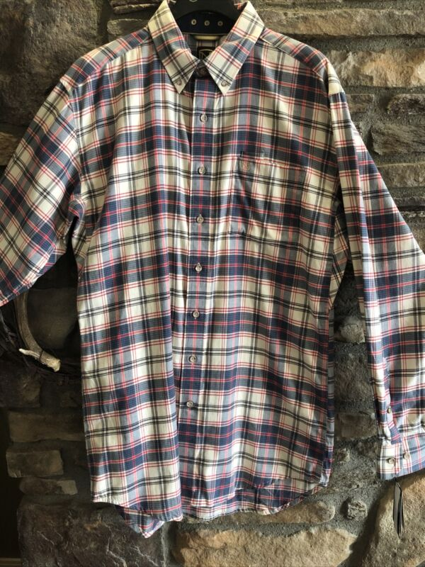 Noble Outfitters Mens Generations Long Sleeve Shirt Medium Red Blue Plaid