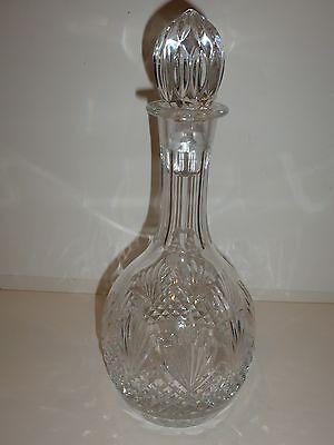 Gorgeous Wedgwood Crystal Decanter, Long Neck, Diamond/Leaf Design