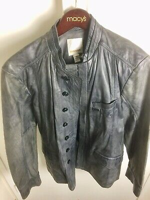 Mens Grey Distressed Leather DIESEL Jacket RARE