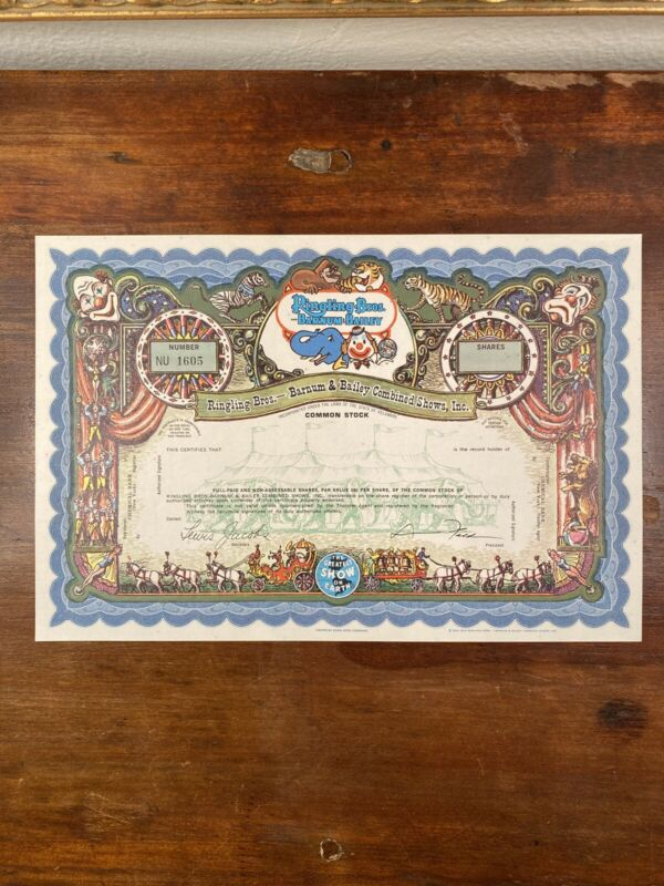 Ringling Bros. and Barnum & Bailey Stock Certificate - SPECIMEN (Blue)
