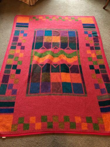 Vintage RARE! Biederlack Multicolor Reversible Geometric Print Blanket  USA