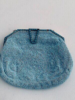 1920s Handbags, Purses, and Shopping Bag Styles Vintage HandBeaded Purse W Tiffany Blue Beads +Tiffany Blue Enamel, Made Germany $49.88 AT vintagedancer.com