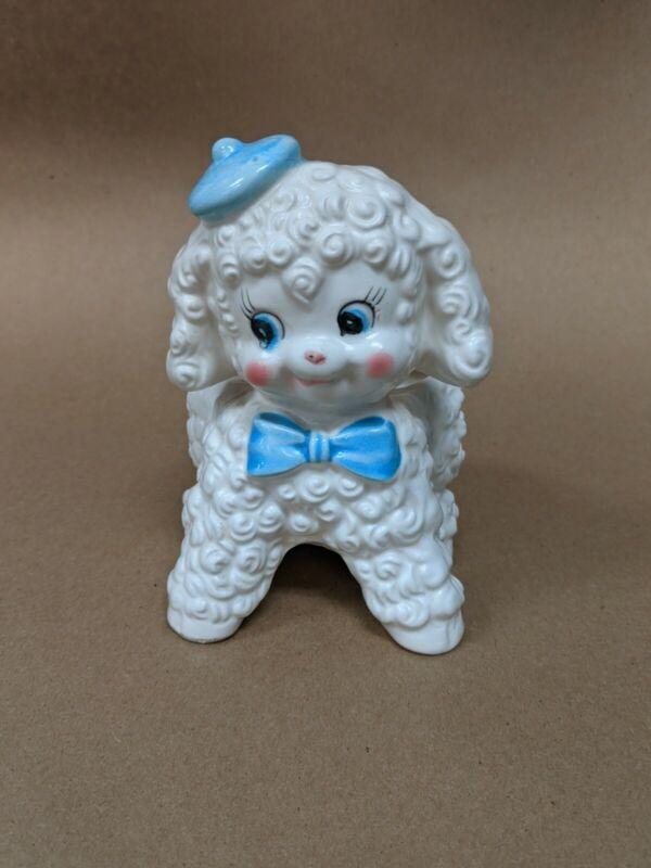 Vintage NAPCO Ceramic Lamb in Beret Planter JAPAN Floral Baby Home Decor C-6355