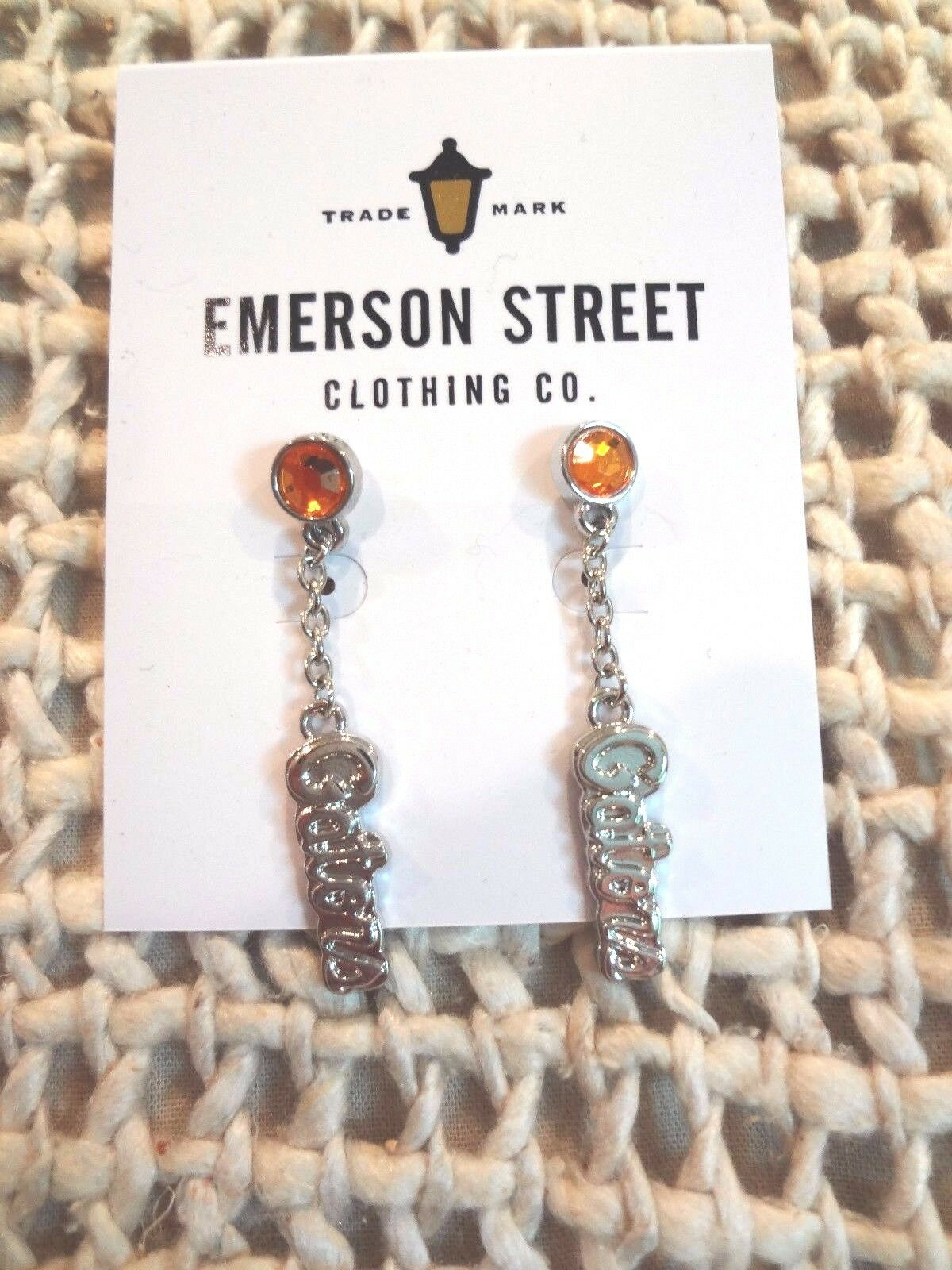 Florida Gators Silver Dangle Post Earrings With Orange Rhinestone NEW CARDED  - $9.95