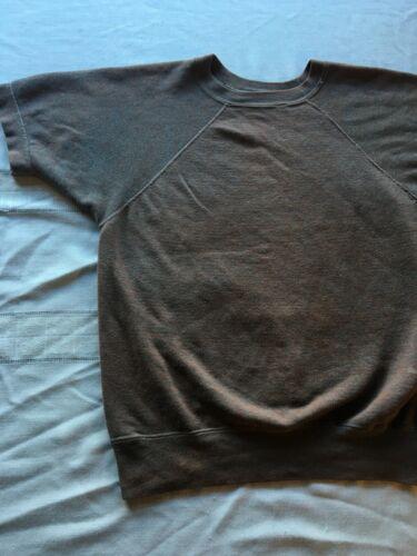 Vintage 1970s Raglan Sweatshirt Short Sleeve SOFT Gym Warm up Brown w blue S 38