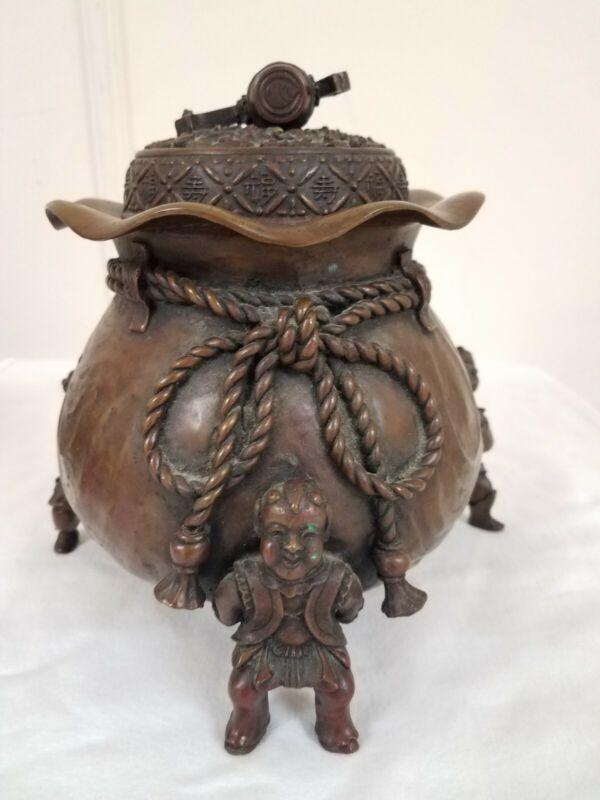 Large Antique Japanese Bronze Taisho Daikoku Happiness longevity incense burner