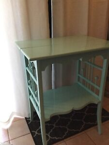 Light blue green tall side table- avail-