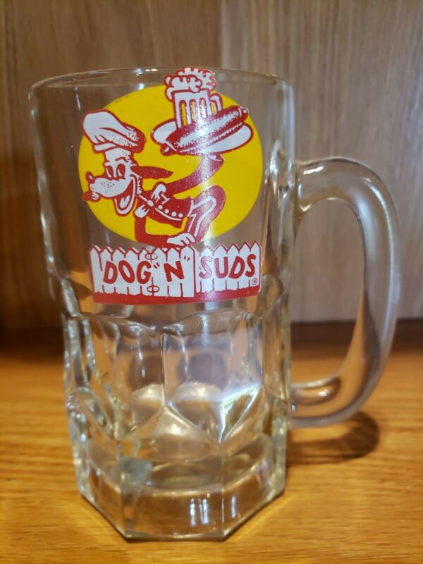 "Vintage Dog N Suds Heavy Glass Root Beer Soda Mug Drive-In 6"" tall Rare Yellow"