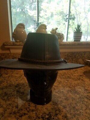 Hatquarters Henschel Black Leather Suede Western Cowboy Hat Brown Braided Band M