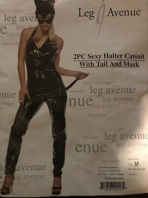 CAT SUIT Costume 2 Pc Sexy Halter W/ Tail & Mask Size Medium By Leg Avenue