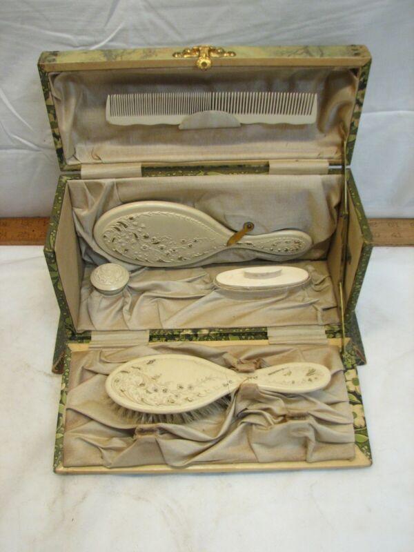 Antique Dresser Box Ornate Vanity Brush & Mirror Set Powder Ornate