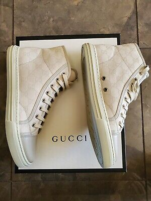 NEW IN BOX AUTHENTIC Gucci GG High Top Sneakers White Bianco Size 7.5 US