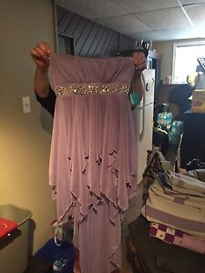 Lavender strapless dress.
