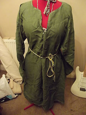 Viking Saxon pure linen green womens kyrtle tunic for reeneactment and larp