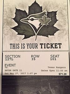 Blue Jays vs Rangers Tickets Saturday May 27th