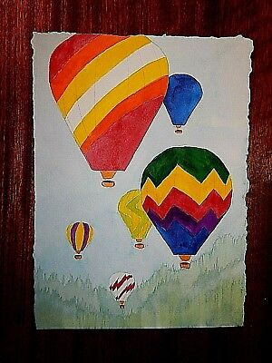 Hot Air Balloon Original Watercolor.  Beautiful and Rich Colors. Mint Conditon. - Mint Colored Balloons
