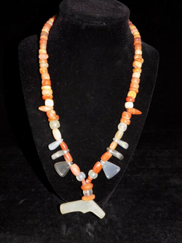 Pre-Columbian Tairona Quartz and Carnelian Bead Necklace, Authentic