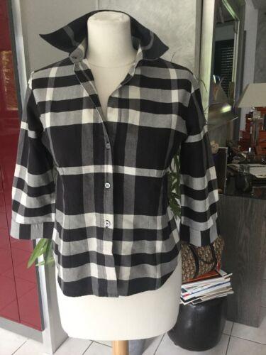 Chemise burberry taille 38/40 tartan gris/noir tres bon etat