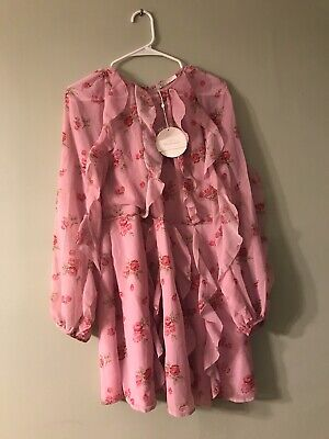 LA Maison TALULAH dress size XL pink rose print blushing flounce