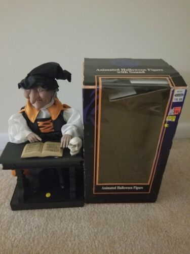 Gemmy Animated Witch Halloween Figure Reading Book With Original Box For Repair - $19.99