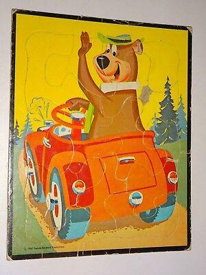 vintage 1961 Hanna-Barbera Yogi Bear TRAY Puzzle driving a car