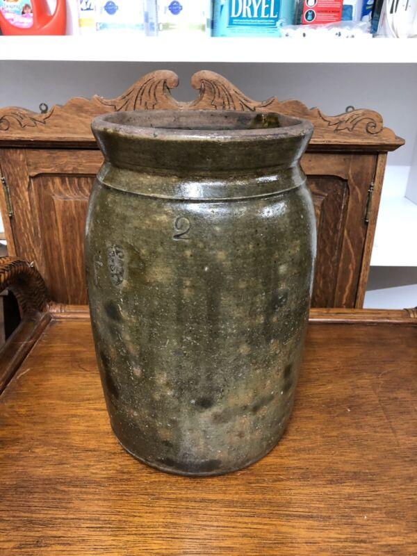 Antique 2 Gallon Galena Pottery Crock - Jar With Unique Shape