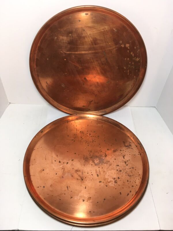 """Set Of 4 Vintage Copper Metal Round Tray Charger 13"""""""