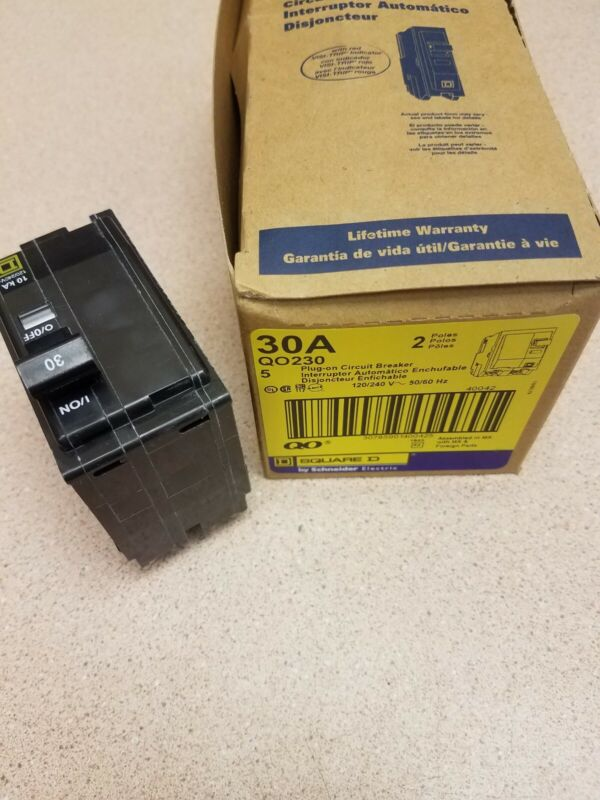 1 NEW Square D QO230 Snap In 2pole 30amp Breaker QO Quick Trip Action
